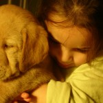 grandchild and puppy