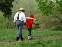 grandpa and grandson on a walk